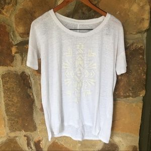 White blouse with Aztec pattern
